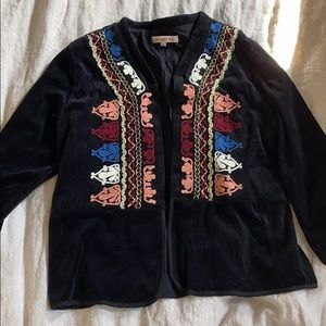 Embroidered Cropped Velour Jacket